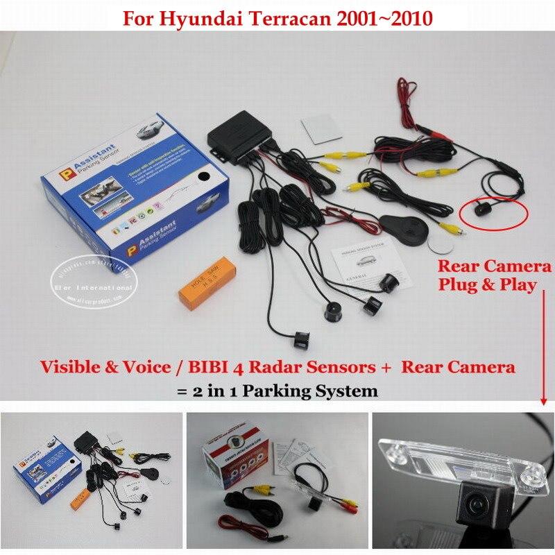 For Hyundai Terracan 2001~2010 - Car Parking Sensors + Rear View Camera = 2 in 1 Visual / BIBI Alarm Parking System for citroen berlingo saxo xsara car parking sensors rear view camera 2 in 1 visual bibi alarm parking system