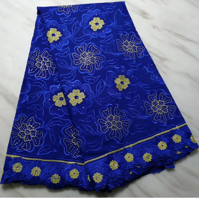 Free shipping (5yards/pc) newest arrival African Swiss voile lace fabric in royal blue with embroidery for party dress  CLS220