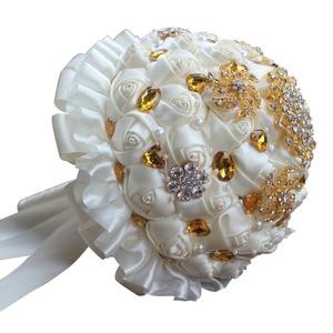 Image 4 - WifeLai A 1Piece Gold Crystal Ivory Cream Rose Brooch Wedding Bouquet Mariage BridalBouquet Pearl Flowers buque de noiva PL002