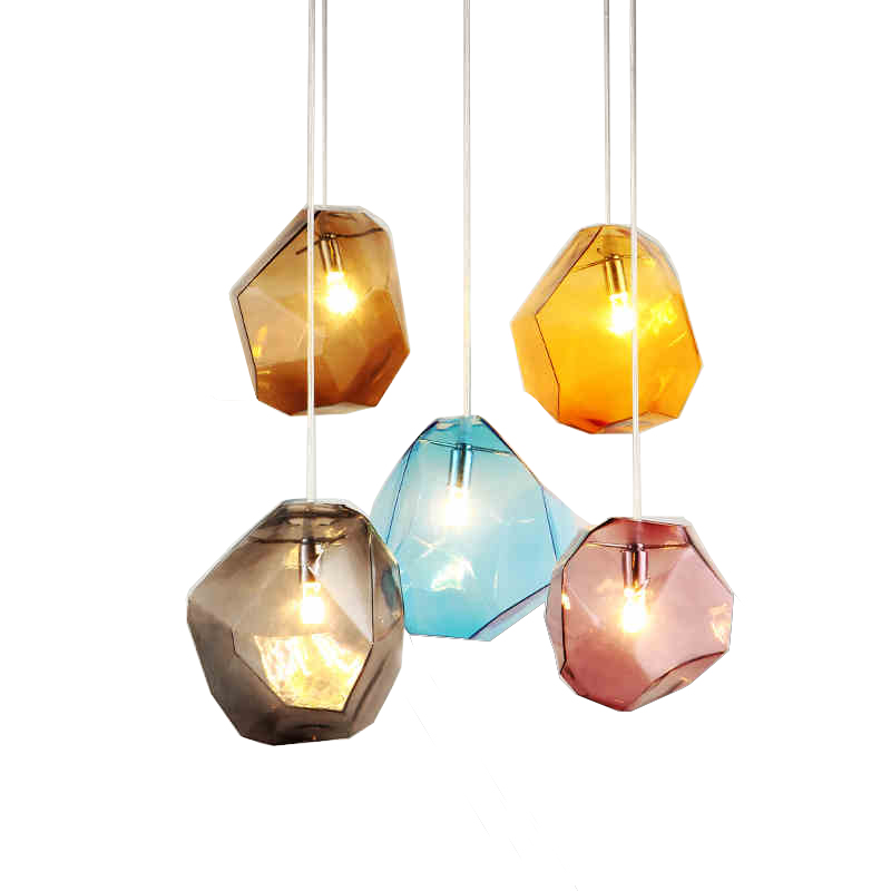 Nordic postmodern style colorful stone Pendant lights creative personality living room bar restaurant led pendant lamp glass chinese style classical wooden sheepskin pendant light living room lights bedroom lamp restaurant lamp restaurant lights