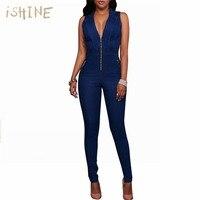 נשים סרבלים הקיץ מזדמן ג 'ינס Playsuit סקסי המפלגה סרבל מכנסיים ארוכים ג' ינס Playsuits סרבל רוכסן
