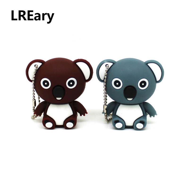 Usb Flash Drives Cartoon Koala Bear Usb Flash Drive Lovely Animal Pen Drive Memory U Stick Pendrive With Keychain 32gb/16gb/8gb/4gb/128mb Strong Packing Computer & Office