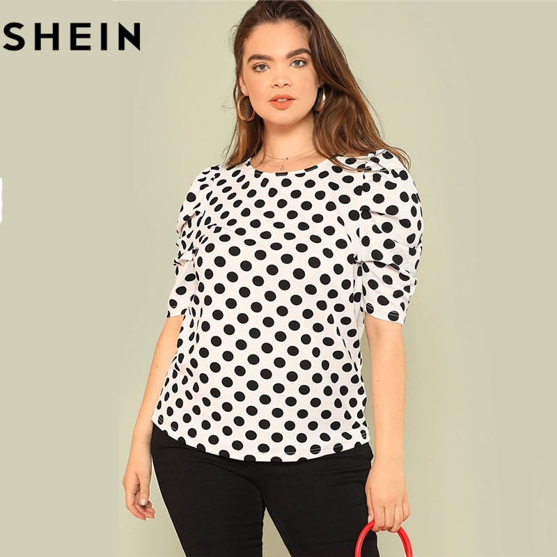 SHEIN Black And White Polka Dot Puff Sleeve Round Neck Plus Size Tops 2018 Summer Casual Office Lady Half Sleeve Elegant Blouses