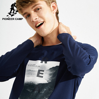 Pioneer Camp Fashion Printed T Shirts Men Brand Clothing New Long Sleeve Autumn Spring T Shirt