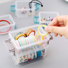 Coloffice 1PC Transparent Washi Tape Storage Box Desktop Stationery Holder Grinding Buckle Stacking Multi-Layer Student Supplies