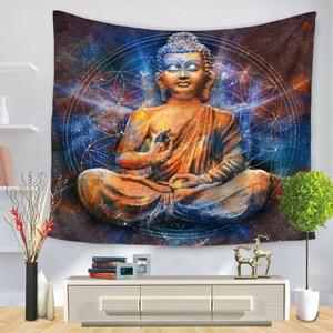 Image 3 - Indian Buddha Standbeeld Tapijt Muur Opknoping Muur Doek Chakra Wandtapijten Psychedelische Yoga Tapijt Woondecoratie