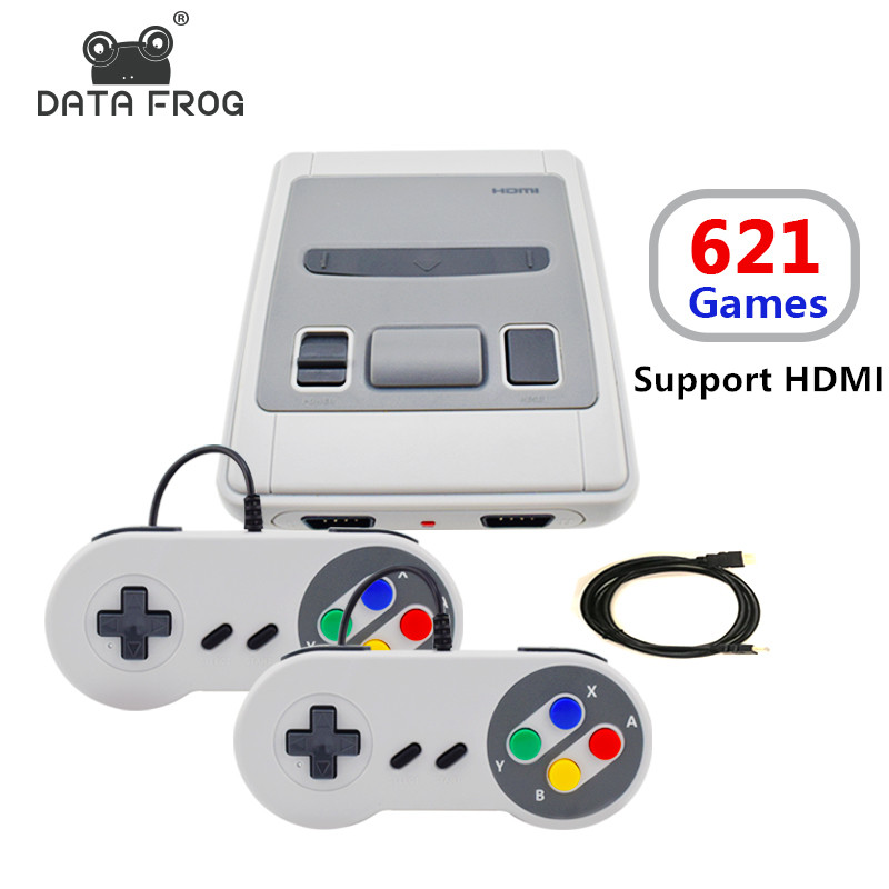 Data Frog Mini TV Game Console Support HDMI 8 Bit Retro Video Game Console Built-In 621 Games For Family TV hd hdmi output mini tv handheld game console video game console for nes games with 500 different built in games 4k tv pal