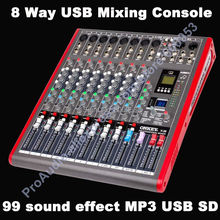 лучшая цена Pro New 8 Channel USB Mixing Console Studio Audio Mixers Mixer Multi-FX Processor 99 digital audio-effect MP3 SD