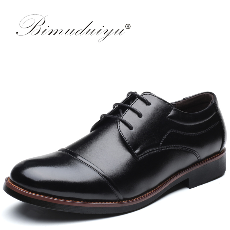 BIMUDUIYU Plus Size 38-48 PU Leather Oxford Shoes Comfortable Insole Lacing Business Dress Shoes Round Toe Man Wedding Shoes Men 2014 free shipping open toe hand sewing crystal chiffon flower pu insole comfortable pure white wedding flip flop