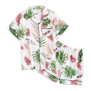 Image 1 - Calções de verão pijamas femininos conjuntos 100% gaze algodão japonês bonito dos desenhos animados simples manga curta shorts sleepwear