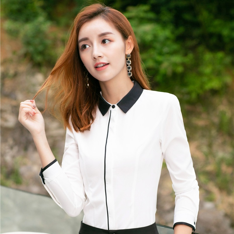 Long Sleeve Formal Blouses Shirts OL Styles For Women Business Work Wear Female Blouse and Tops Clothes 2018 Spring Autumn White