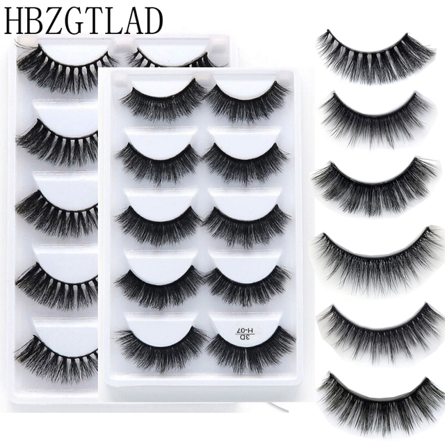 5 Pairs Natural false eyelashes thick 3d mink lashes short black soft mink eyelashes makeup eyelash extension faux lashes 01