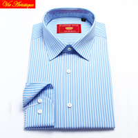 men's long sleeve white baby blue striped dress shirts male tailored 6789 XL business office cotton slim fit 2018 spring summer