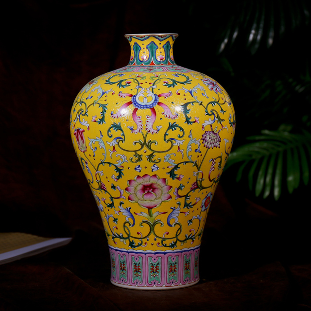 Antique Ming And Qing Dynasty Classical Vase Ornaments Yellow Flower
