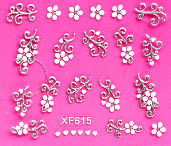 Сладкий 3D белый цветочный дизайн переноса воды гвозди стикера искусства наклейки женские маникюрные инструменты ногтей Обертывания Переводные картинки оптовая продажа XF615