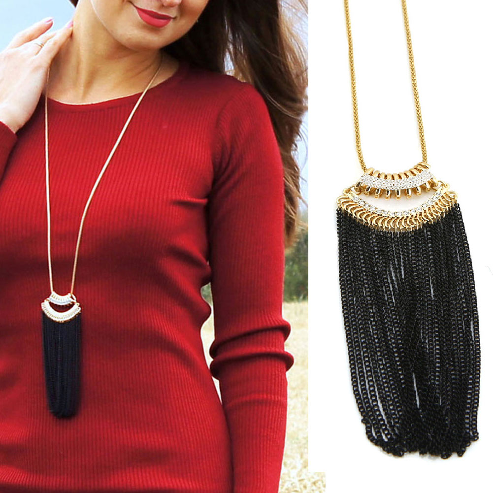 TrinketSea Trendy Charm Metal Tassel Long Pendant Necklace For Women Statement Drop Necklaces Free Shipping Fashion Jewelry