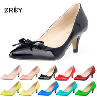 Womens Sexy Low Mid Kitten Heels Shoes PU Patent Leather Pointed Toe Work Pumps With Bowknot