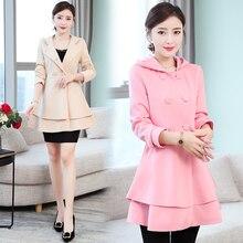 купить b  Women's Trench Coat Plus Size 2XL Hoodie Windbreaker Solid Skirt Hem Overcoat Double Breasted Coat Female онлайн