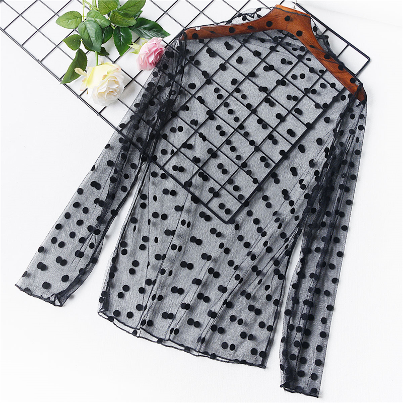 Women Sexy Lace Mesh Net See Through  Shirts Hollow Out Transparent Undershirt Star Dot Base Top Stars Striped Shirts Blouse