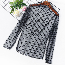TWOTWINSTYLE Polka Dot Chiffon Blouse Crop Tops Female Ruffled Collar Patchwork Lace