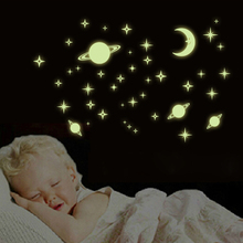 Creative Stars Glow In The Dark The Moon Luminous Fluorescent PVC Decal Wall Stickers Home Decor