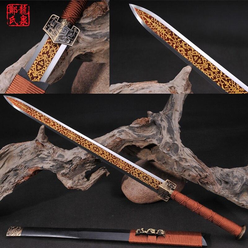 Cold Steel Traditional Chinese Sword Wakizashi Blade Etching Old Antique Words metalowe skrzydła dekoracyjne na ścianę