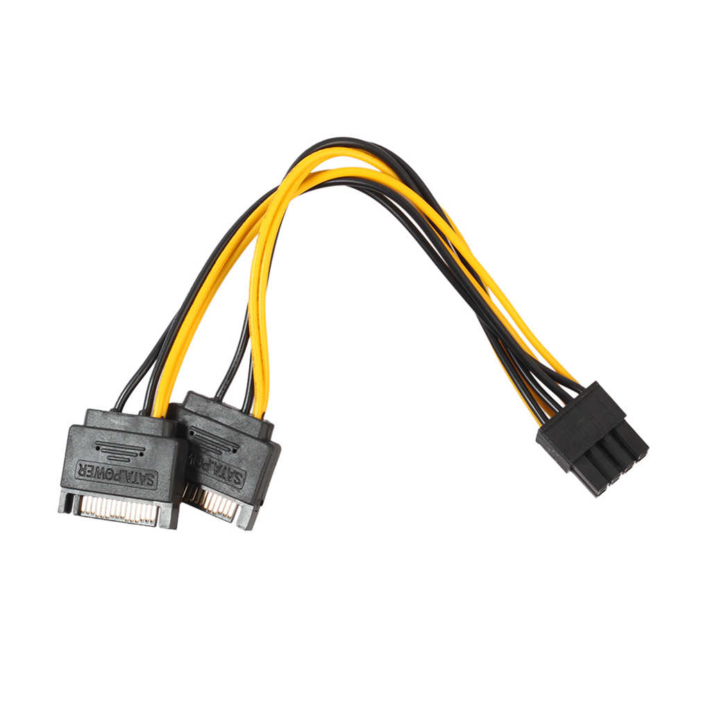 Universal 8Pin to 15Pin PSU Power Supply Sleeved Cable Cord Patch Connector Wire for PC Computer Adaptor