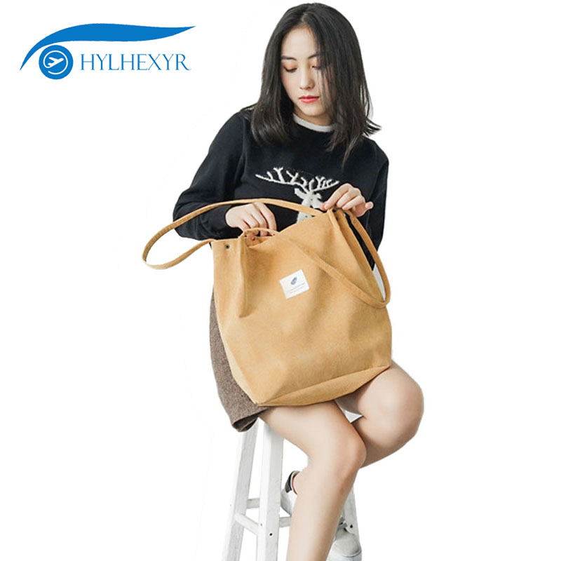 Hylhexyr Solid Corduroy Shoulder Bag Women Reusable Shopping Bags Canvas Casual Tote Female Handbag For Dropshipping