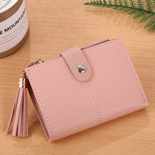 Fringe ladies short bag pendant 2 fold wallet card bag purse cute wallet leather zipper ladies wallet clutch sac femme