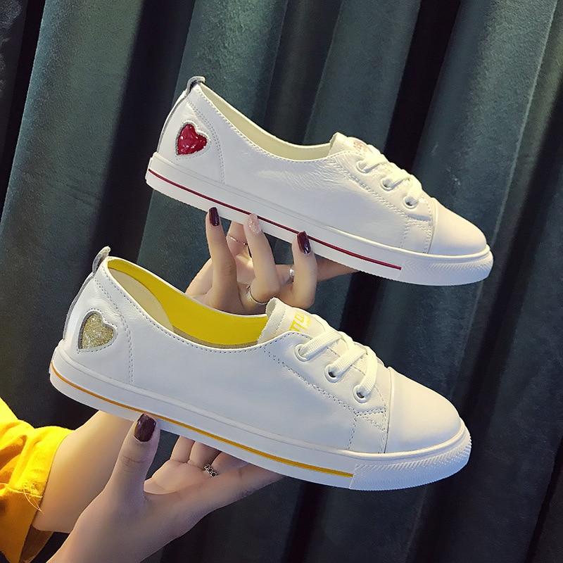 1cd38735 De Y rojo Transpirable 2018 Oro Cuero Nuevo Otoño Blancos Cómodo Las  Zapatos Mujeres q71xEw0Z