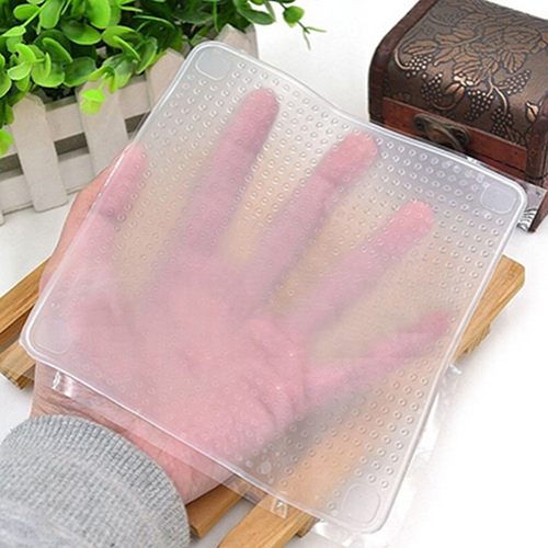 Home Kitchen Tool Clear Square Reusable Silicone font b Food b font Wrapper Seal Cover Film