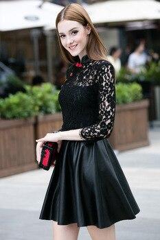 2018 black modern short Cheongsam qipao girl dress lace+artificial leather
