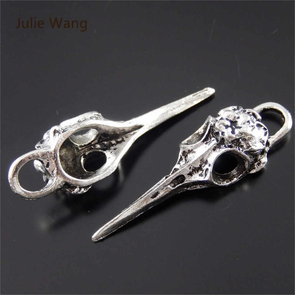 Julie Wang Alloy Hanging Charm Retro Silver Skull Beak Bird Head Pendant Charms Crafts Handmade Fashion Jewelry  Suspension