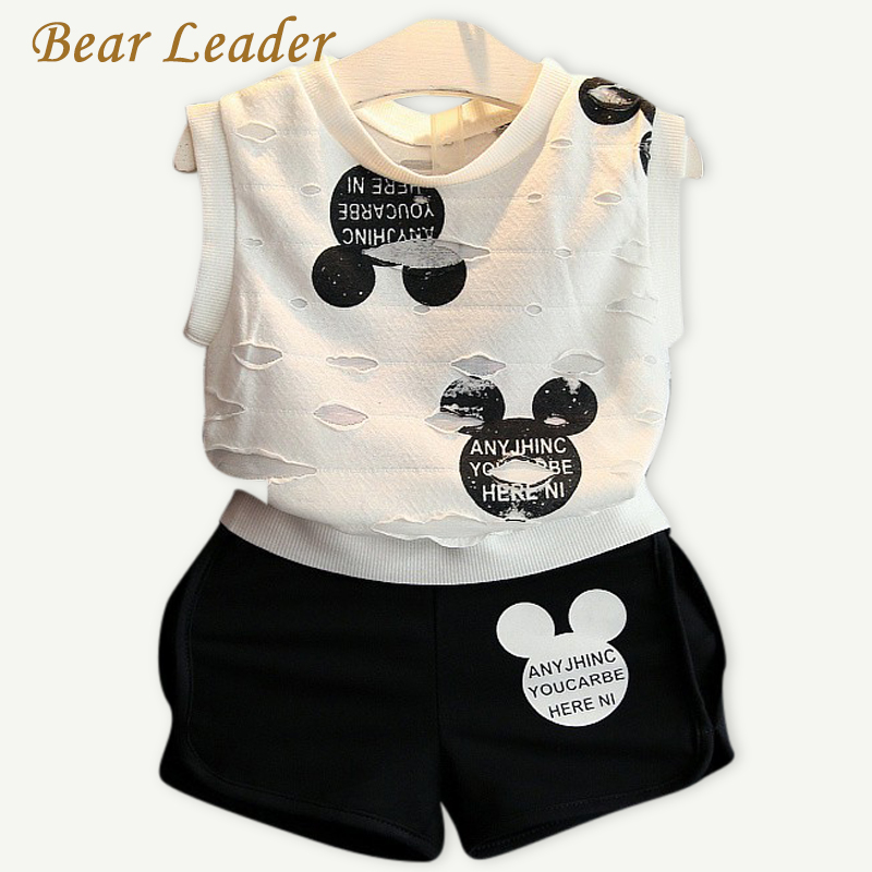 Bear Leader Girls Clothes 2018 Summer Style Boys Clothing Sets Cartoon Print T-shirt+Short 2Pcs for Kids Clothes 3-7Y Children 2017 summer girls sets clothes short sleeve chiffon baby girls sets for kids big girls t shirts and stripe shorts children suits