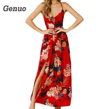 купить Genuo Floral Printed Lace Up V Neck Dress Women Sexy Split Backless Criss Cross Sundress Summer Beach Maxi Long Dress Plus Size дешево