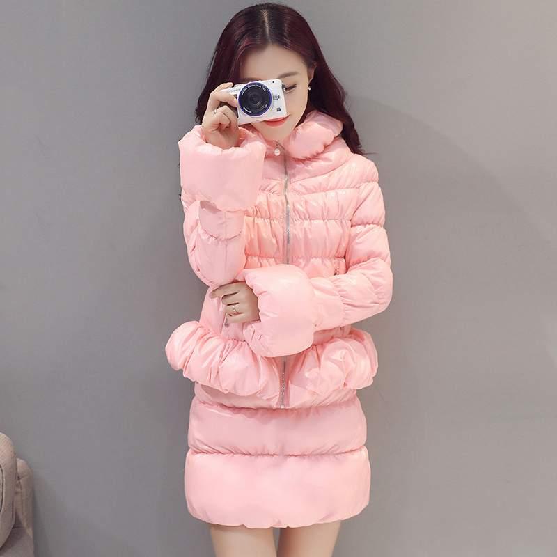 Nouvelle Ly549 Coréenne Vers Veste Mode Pink Bas 2019 Slim Deux Le Chaud Col Pièces D'hiver Élégant Costume Ensembles Support Manteau black Épais apricot Femmes SzUMVpqGL