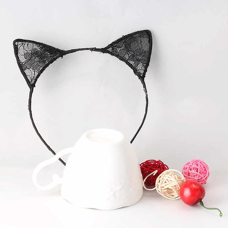 1 шт., новый летний стиль, Кружевная повязка на голову с кошачьими ушками для девочек, повязка на голову, аксессуары для волос принцессы, головной убор, сексуальный милый ободок для волос