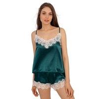 Set Piyama Satin Renda Potong Pijama Celana Pendek Seksi Cami Pakaian Tidur Pengantin Setelan untuk Wanita