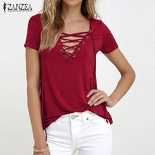 ZANZEA Women 2019 Summer Sexy V Neck Blouses Oversized Short Sleeve Casual Hollow Out Lace Up Solid Shirts Blusas Tee Tops