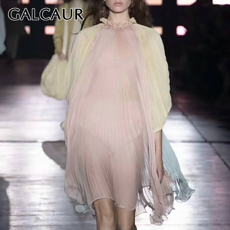 GALCAUR Summer Hit Color Patchwork Dress For Women Stand Collar Batwing Sleeve Oversize Knee Length Pleated