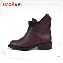 HARAVAL 2019 New Brand Winter Ankle Boots Women Top Quality Handmade Warm Lining Plush Women Shoes Snow Lady Boots B197 free shipping top fashion new women boots 2017 winter women shoes 100% genuine leather snow boots lady warm brand ankle shoes