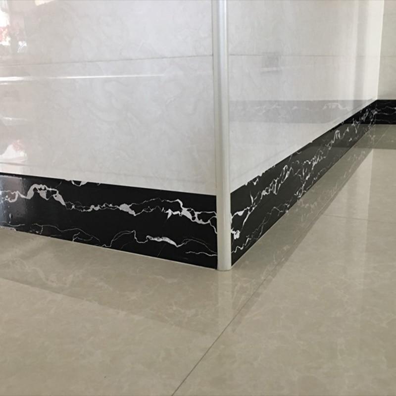 Купить с кэшбэком 0.1x5m Baseboard Wall Sticker PVC Self Adhesive Wallpaper Waterproof Ceramic Tile Waistline Living Room Door Stickers Wallpaper