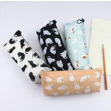 Coloffice big capacity Silica gel 4 colors cats animal Pencil Case Print Cute School Supplies Pencil Box Pencilcase Pencil Bag