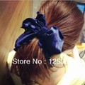 Free Shipping,2013 New Womens Big Bows Hair Bands Fashion Silk Hair Ropes Ladies Ponytail Holder Hair Accessories High Quality