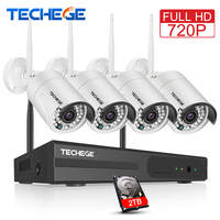 4CH Wireless NVR Kit Plug And Play 7200P HD Outdoor Night Vision 1 0mp Security Camera