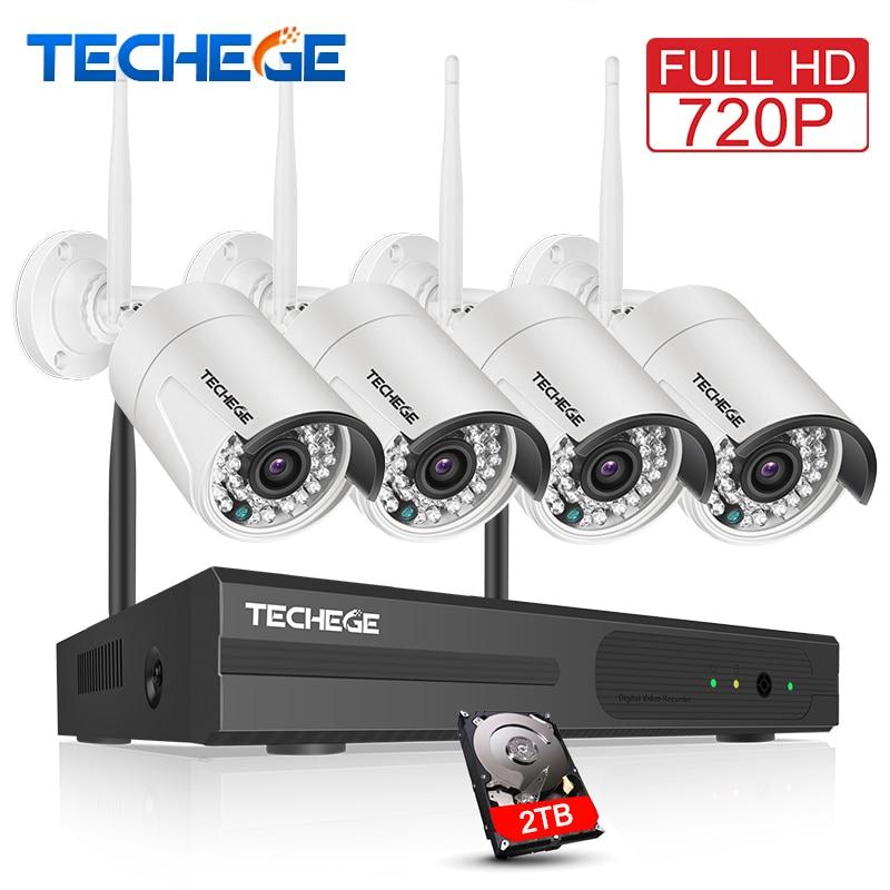 Techege 4CH Sans Fil 720 p NVR Kit Play & Plug 1MP Extérieure IP WIFI Caméra Vision Nocturne Imperméable À L'eau de Sécurité Vidéo kit de Surveillance