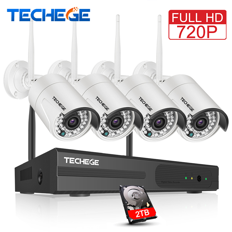 Techege 4CH Wireless 720P NVR Kit Play& Plug 1MP Outdoor IP WIFI Camera Night Vision Waterproof Security Video Surveillance Kit