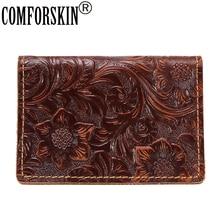 COMFORSKIN Premium 100% Cowhide Leather Vintage ID Card Wallets 2018 Hot Brand Designer Embossing Women's Credit Card Holders comforskin brand premium 100