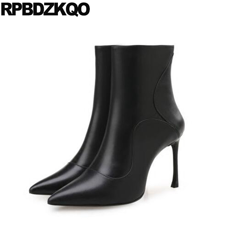 Side Zip Boots Fashion Sexy Ankle Stiletto Fall Fur High Heel Winter Short Shoes Pointed Toe Booties Black Chinese 2017 Ladies booties warm shoes winter round toe side zip boots brown real fur flat casual ankle female new ladies 2017 chinese fashion short