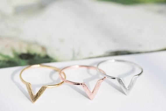 SMJEL New Fashion Punk Wire Chevron Ring Feminino Geometric V Shape Midi Rings W
